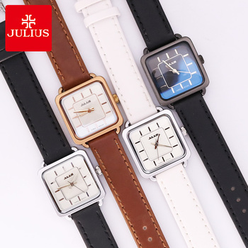 Top Julius Women's Watch Japan Quartz Fine Fashion Real Leather Clock Square Hours Lovers' Valentine Girl's Birthday Gift Box julius lady women s watch japan quartz hours steel fashion dress heart bracelet cute fine girl birthday valentine gift
