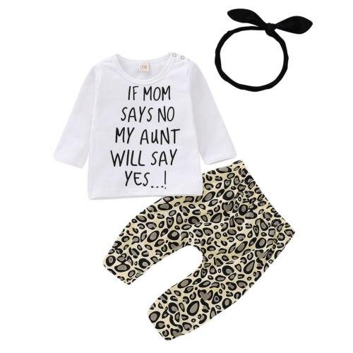 043e05ddff237 US $5.96 14% OFF|3PCS Set Newborn Baby Boy Girl Long Sleeve Letter Print  Cotton T shirt Tops+Leopard Pant Legging+Headband Outfits Autumn Clothes-in  ...