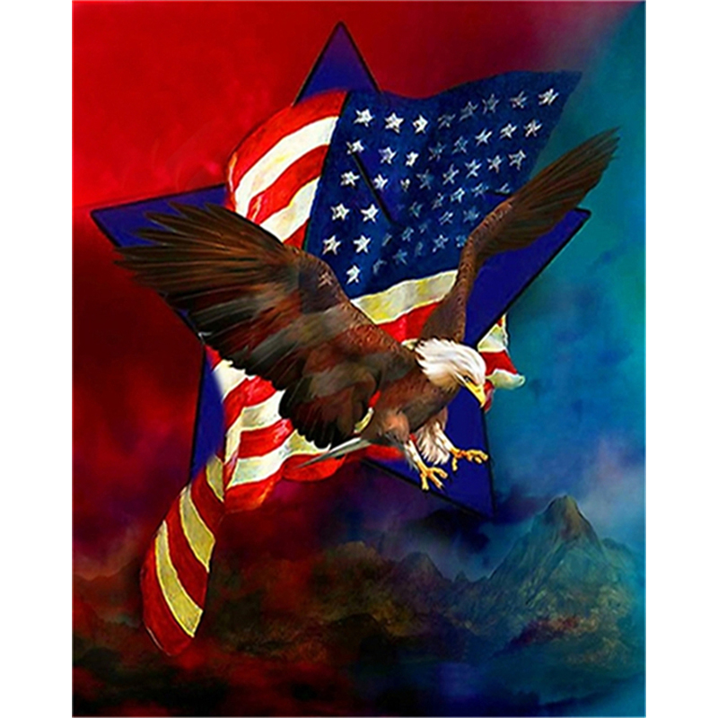 Eagle Flag Full 5D Rhinestone Diamond DIY Cross Stitch Painting Home Decor