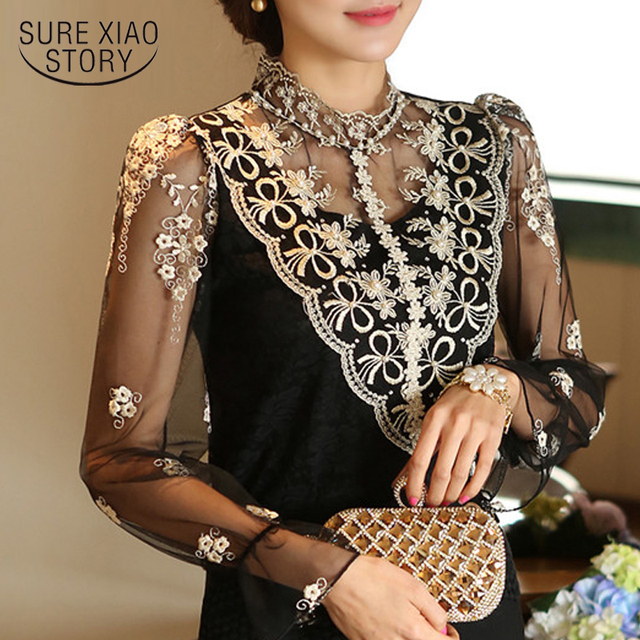 5b8701d1ccc9 2015 New Spring Mesh Lace Top Female Long Sleeved Sheer Women Blouses Slim  Elegant Plus Size
