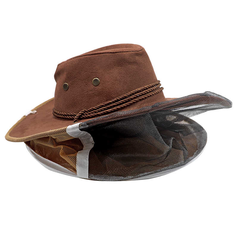 Arıcılık Şapka Arıcı kovboy şapkası Sivrisinek Arı Net Peçe Tam Yüz Arı InsectOutdoor Böcek Örgü Maskesi Kafa koruyucu bone