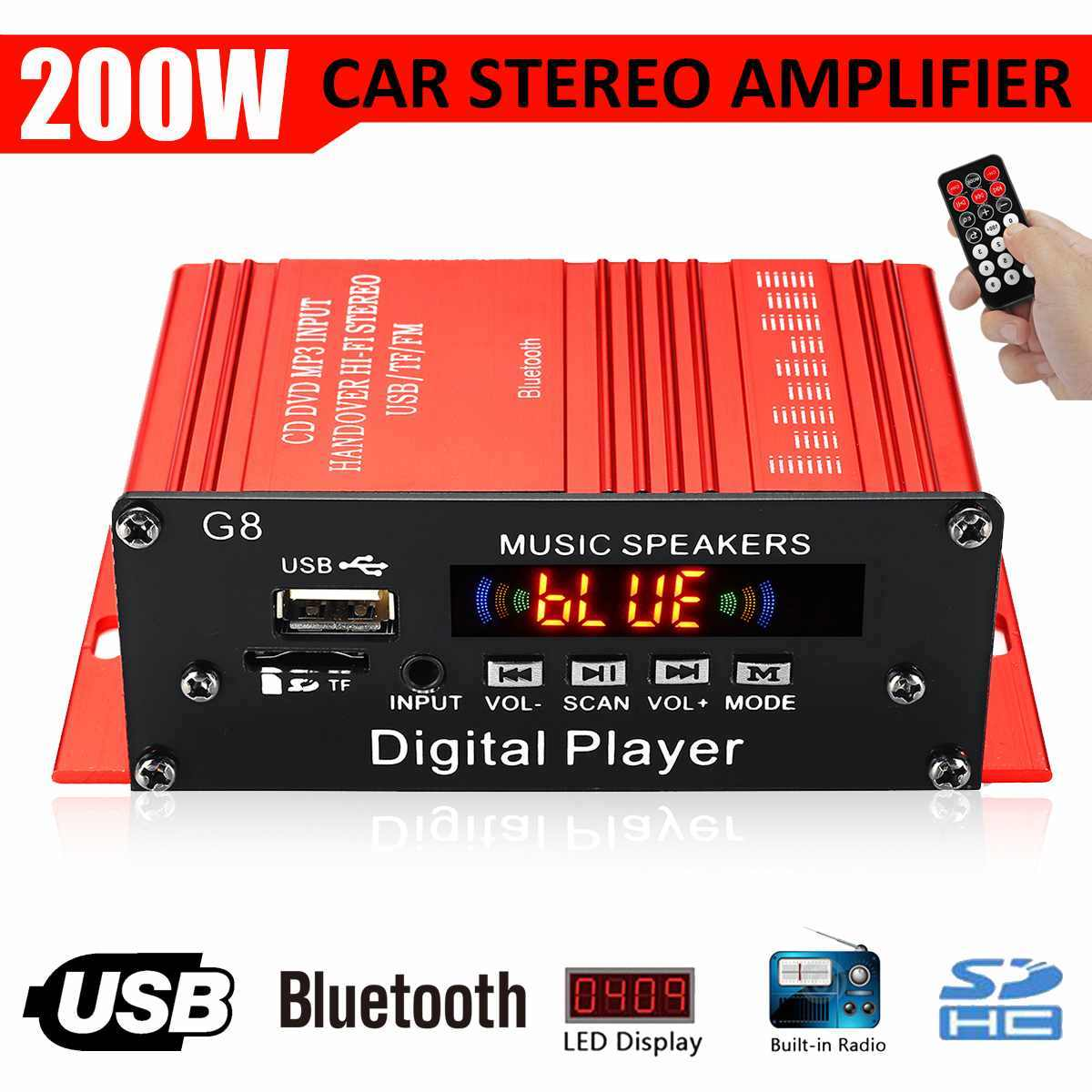 G8 200W 2 Channel 12V Mobil Amplificador HI FI Audio Power Amplifier Bluetooth Stereo Mobil Theater Amplifier FM Radio pemutar Musik