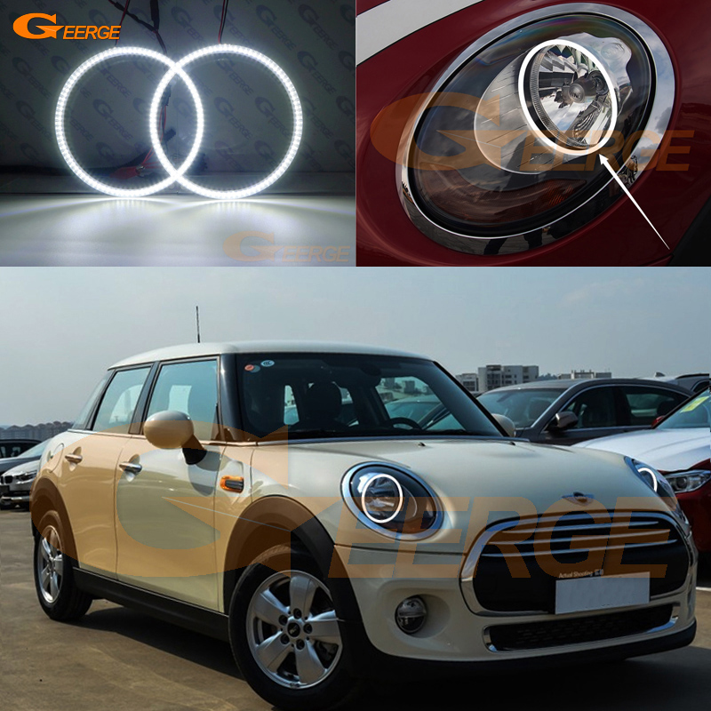 For mini cooper 2014 2015 2016 HALOGEN HEADLIGHT Excellent Ultra bright illumination smd led Angel Eyes