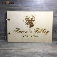 Personalized Custom Wood Wedding Photo Album Wire Binding Wooden Loose-leaf Decoration Signature Guest Books
