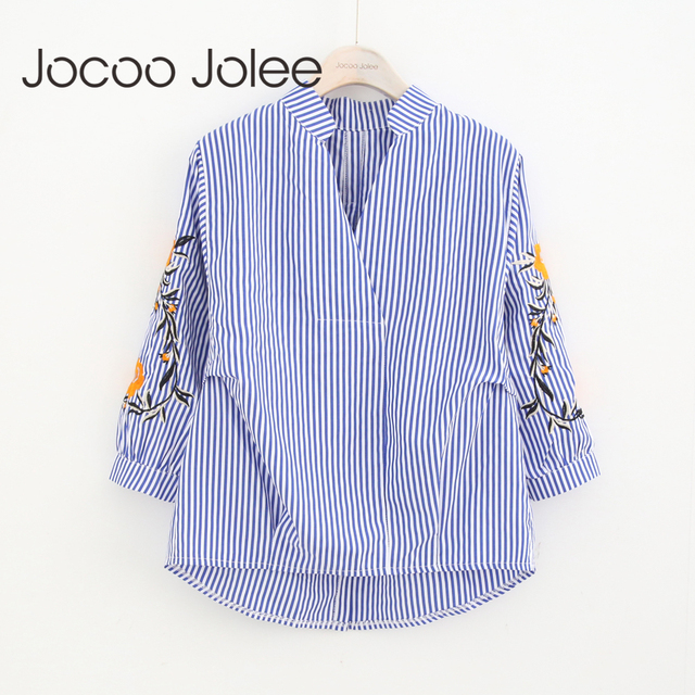 Jocoo Jolee  Casual Striped Women Blouse Vintage Embroidery Design Long Sleeves V-Neck Collar Women Shirts Winter New Arrivals
