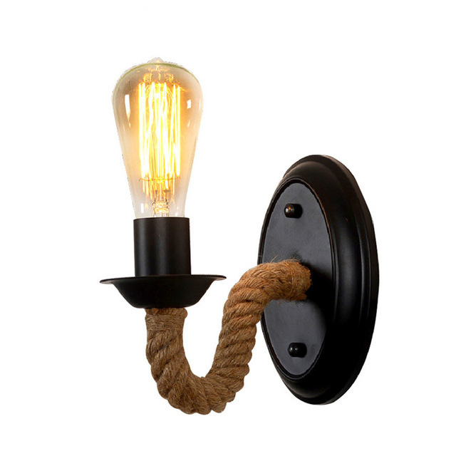 Loft Iron Hemp Rope Wall Lamp Retro Vintage Lighting Indoor Wall Lamp American industrial Lighting lifting pulley wall light
