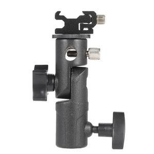 """Image 4 - D/E/C şekli evrensel Metal flaş braketi standı sıcak ayakkabı Speedlite şemsiye tutucu ile 1/4 """"3/8"""" Vidalı bağlantı döner adaptör"""