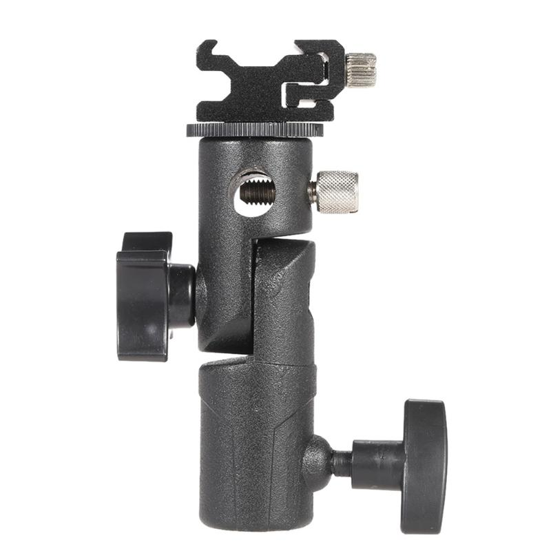 "E Shape Universal Metal Flash Bracket Stand Hot Shoe Speedlite Umbrella Holder With 1/4"" To 3/8"" Screw Mount Swivel Adapter"