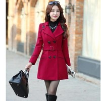 Autumn And Winter New Product Korean Woolen Loose Coat Long Overcoat Woman