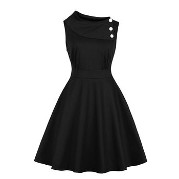 Summer Vintage Women Gothic Dress Solid Black Sleeveless A Line Dress Retro Girl Casual Swing Dresses