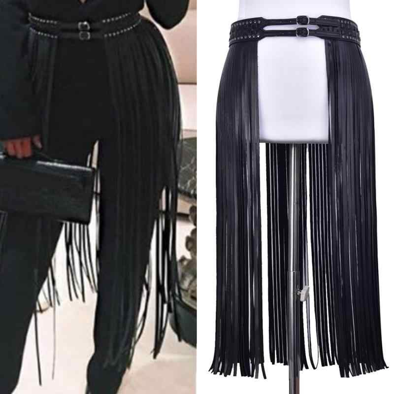 87a9cae2f5 Fashion Women Belt Corset Girdle PU Leather Dress Decor Hippie Tassels  Girdle Ladies 2 Metal Pin