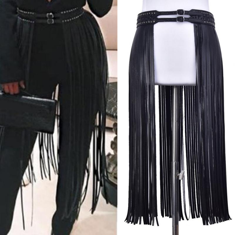 Long Fringe Side Skirt Girdle Fashion Corset Corset Belt PU Leather Ladies Dress Decor Hippie Tassels Girdle 2 Metal Pin Buckle