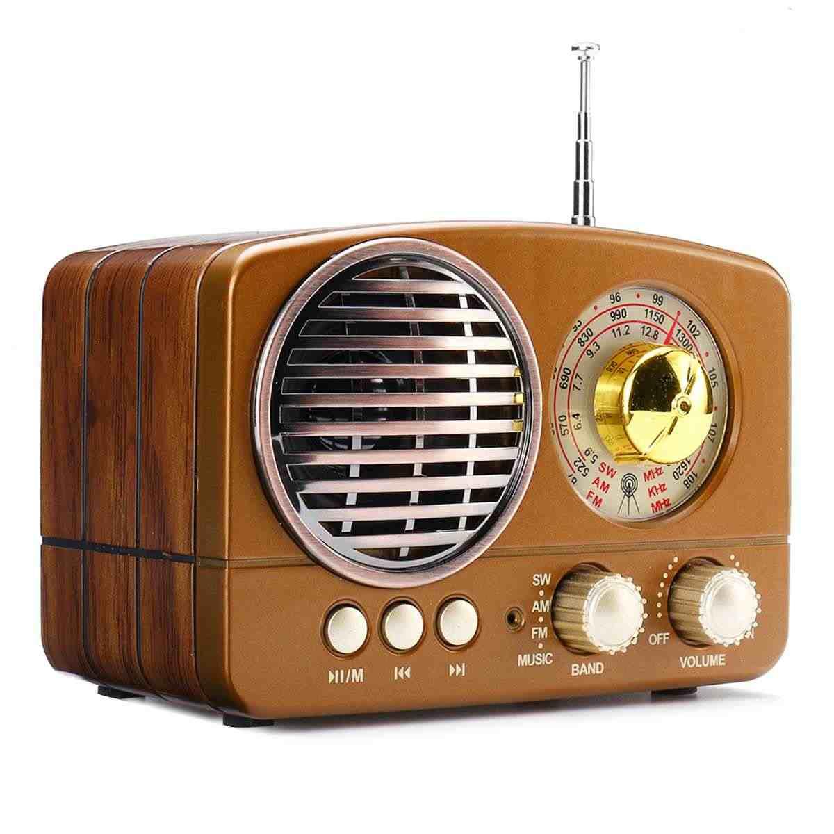 Radio portátil Retro inalámbrico bluetooth HIFI altavoz estéreo auriculares FM AM SW USB AUX TF tarjeta MP3 receptor Multimedia clásico
