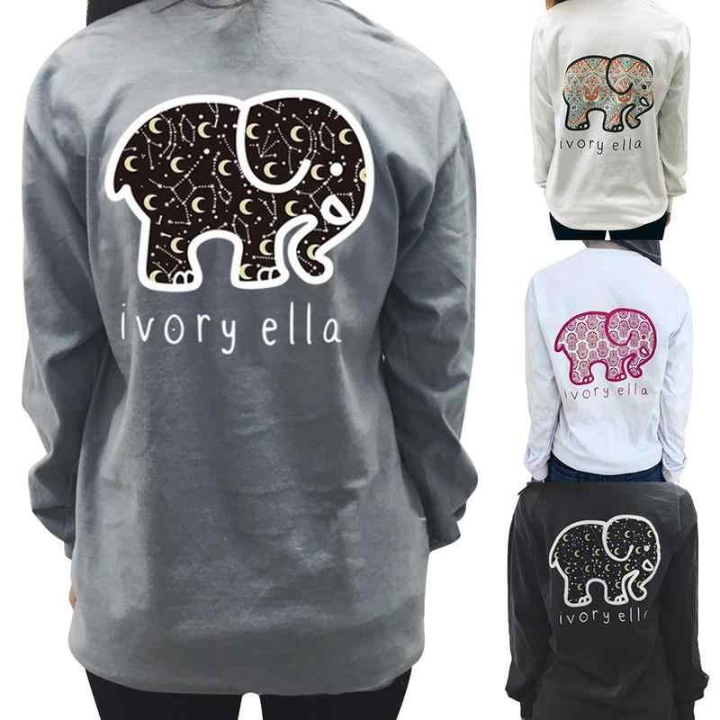 d13b9c00362e Cute Elephant IVORY ELLA Letter Print Loose Round Neck Long Sleeve Female T- shirt Fashion