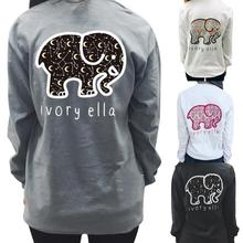 761c7e771f44 Cute Elephant IVORY ELLA Letter Print Loose Round Neck Long Sleeve Female T- shirt Fashion
