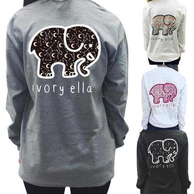 8349d95bf5ca87 Cute Elephant IVORY ELLA Letter Print Loose Round Neck Long Sleeve Female T-shirt  Fashion Leisure Kawaii Shirt