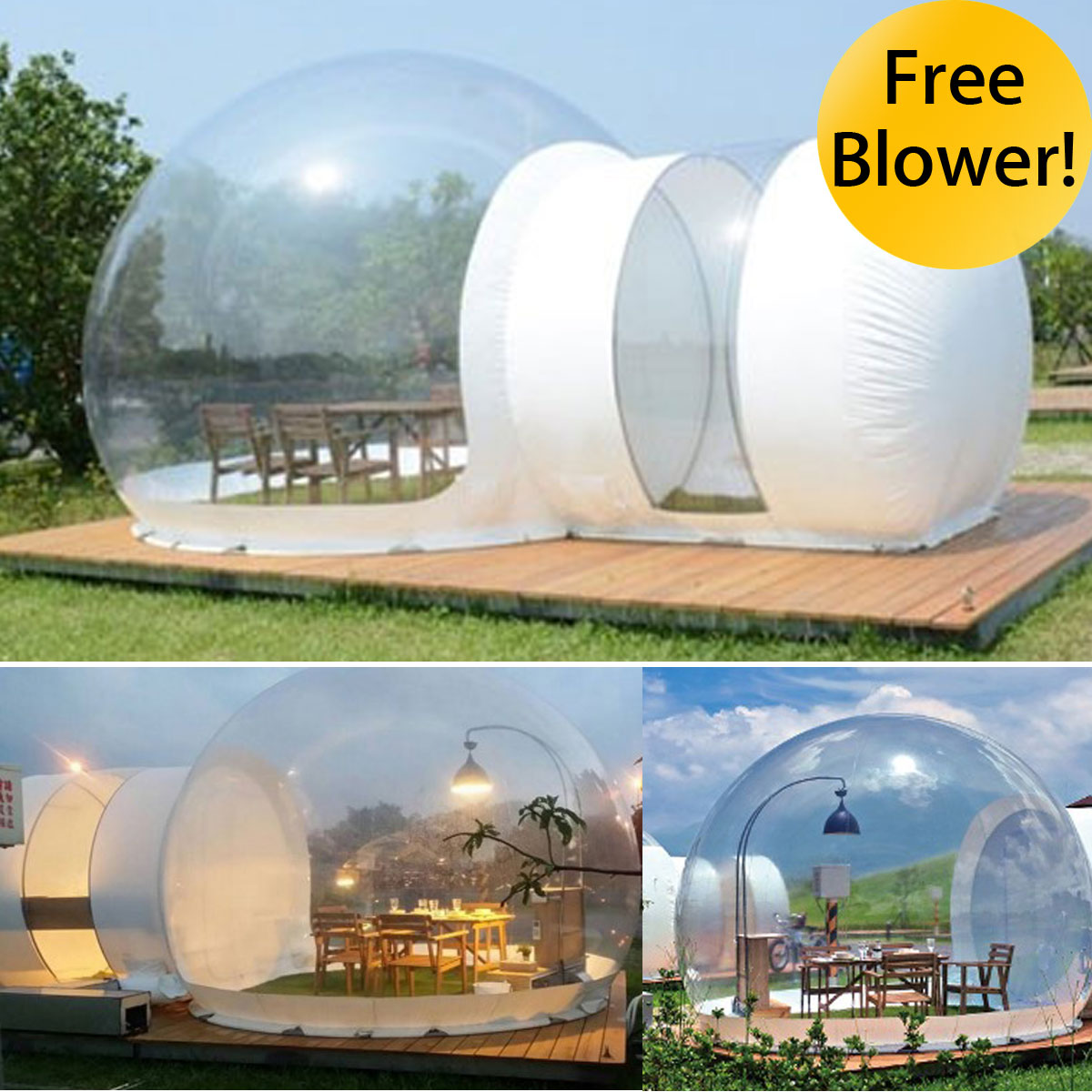 SGODDE Gonflable Maison Écologique Tente BRICOLAGE Maison De Luxe Dôme Camping Cabine Lodge Bulle D'air