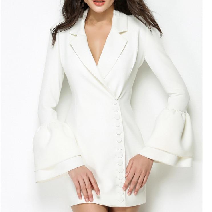 Nouveau De Taille Poitrine Femmes Unique Costumes Manches Automne V Sexy Mode Robe A ligne Blanc Blazers Cou Flare Mi Haute Okn08wP