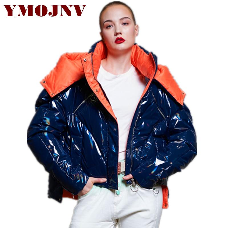 610585fc2 YMOJNV 2018 Winter Thicken Down Coats Original Design Shining Mixed Colors Jacket  Women Short Cloak Style Overcoat Female Parka