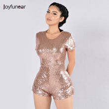 women Macacao Feminino 2016 Woman round neck long sleeve Gold Sequin Jumpsuit Bodysuit Fashion back zipper