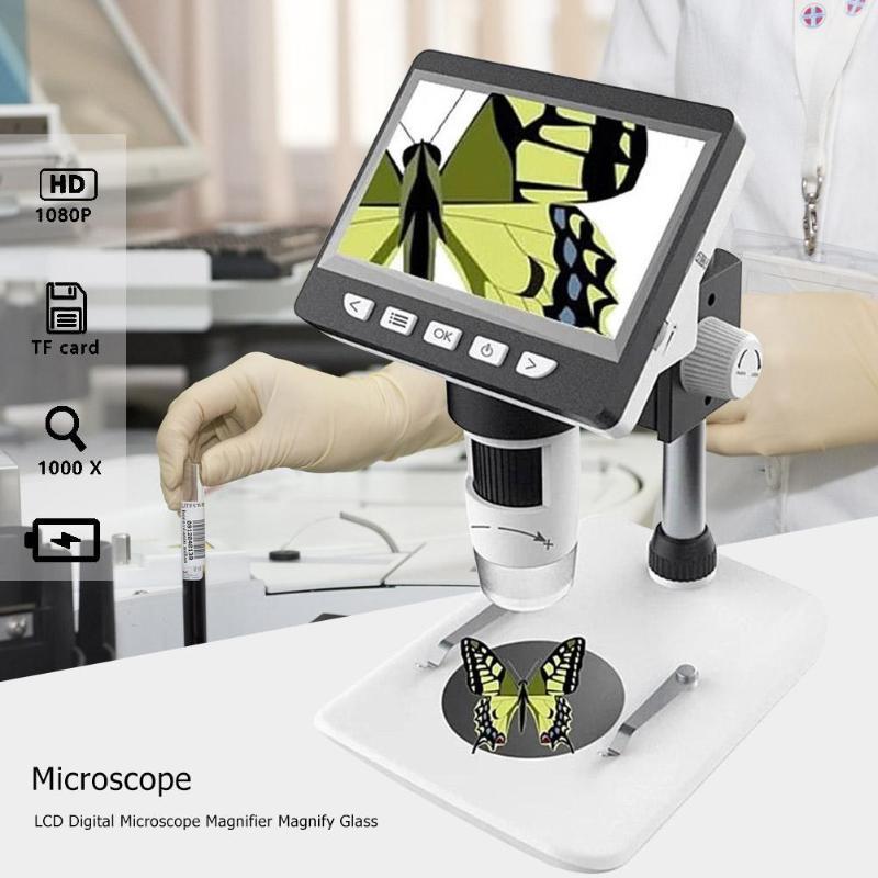 1000X4.3 Pollici HD 1080 p Portatile Del Desktop LCD Digitale Magnifier del Microscopio della lente di Ingrandimento di Vetro Set di Supporto 10 Lingue - 2