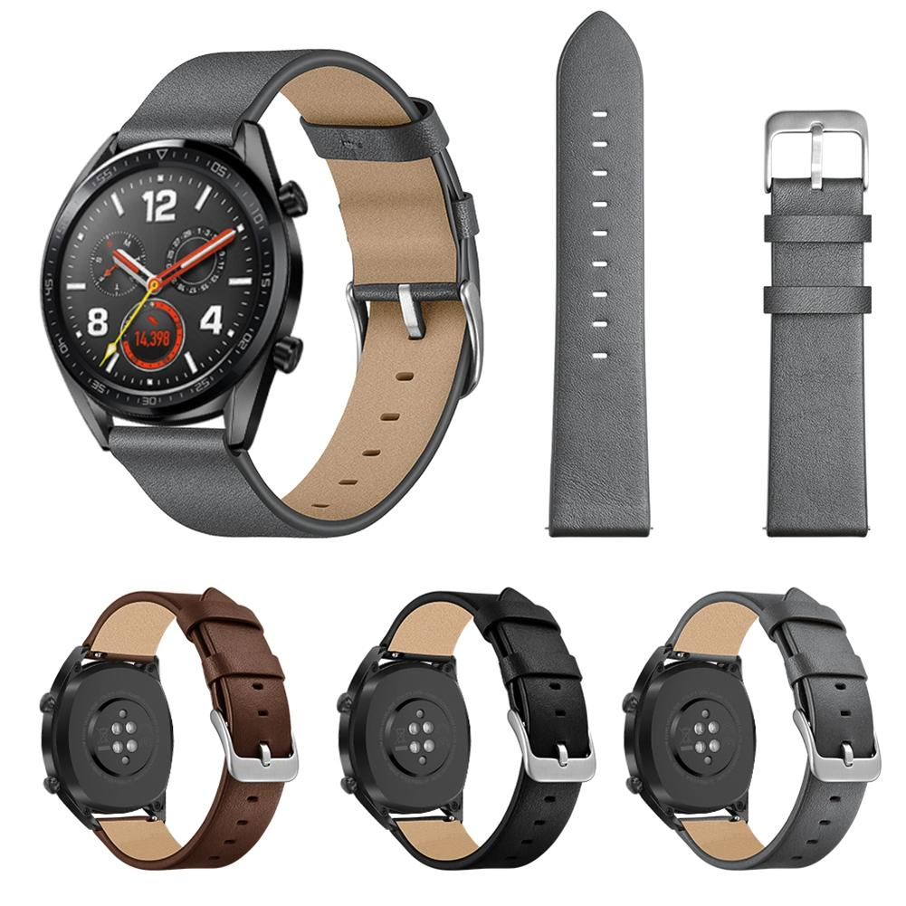 22mm Fashion Replacement Needle Pattern Leather Strap Wristband For Watch GT / Honor Watch Magic Black Brown Gray New-in Smart Accessories from Consumer Electronics