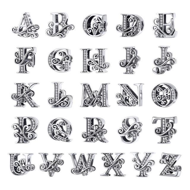 Vintage Alphabet Charms for Silver Bracelets