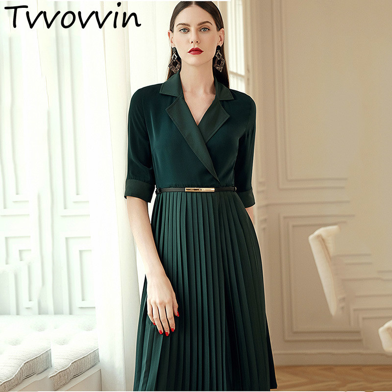TVVOVVIN 2019 Autumn Winter Woman Temperament Solid Green Color Notched Half Sleeve Adjustable Waist Long Pleated