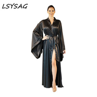 LSYSAG Women Sexy Coat Beach Party Deep V Neck 2018 Over Size New Fashion Loose Soft Comfortable Black Elegent Clothing Night OL
