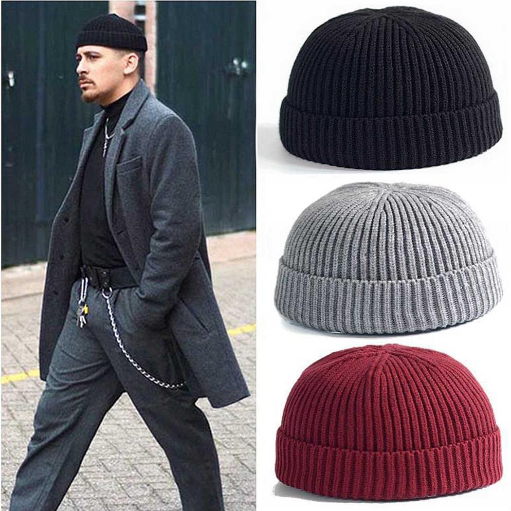 e66b79129a4 Casual Adult Men Knitted Skullies Short Cotton Thread Hip Hop Hat Beanie  Women Retro Navy Fashion