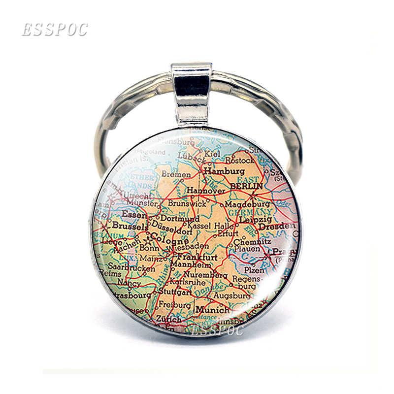 Europa países mapa vidrio colgante llavero italia francia escocesa Polonia moda recuerdo joyería regalo para Mujeres Hombres