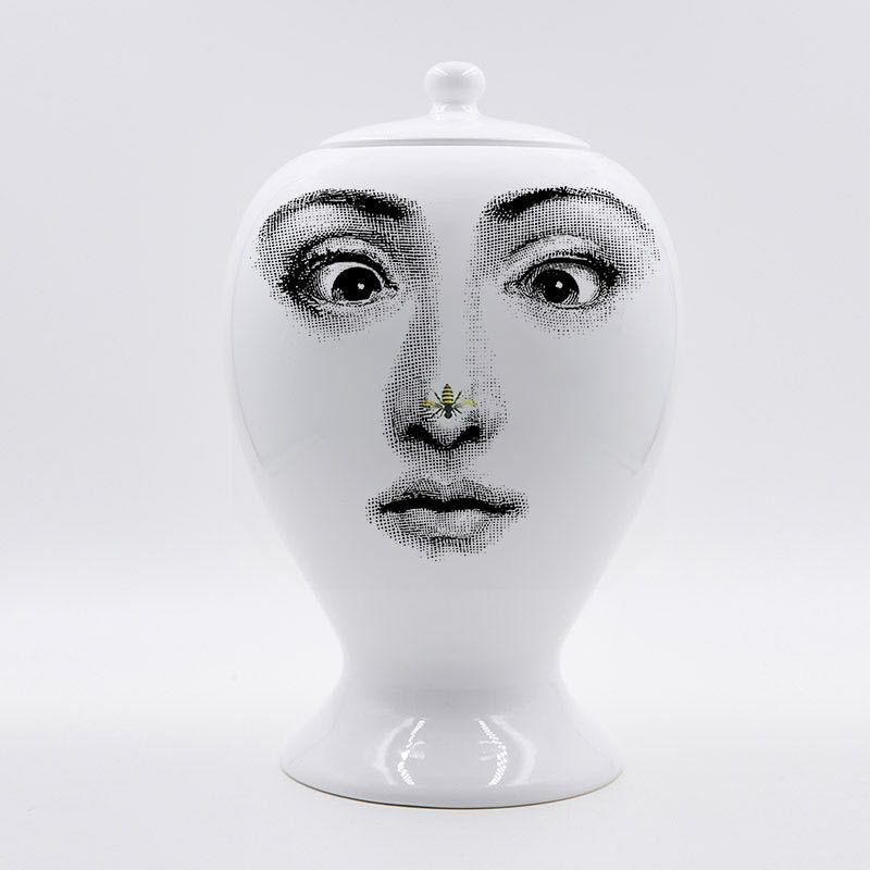 Fornasetti Vase Decor Flower Pot European Ceramic Decorative Large Sealing Vase Home Decoration Accessories Christmas