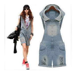Jeans Overalls Jumpsuits Suspender-Trousers Shorts Hooded Romper Ripped Denims Pants-Hole