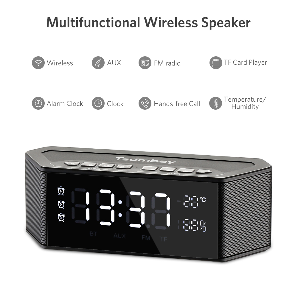 Tsumbay LED Dimmable Display Alarm Clock Multi functional Wireless Bluetooth Speakers Built in mic Digital FM Radio USB Charge
