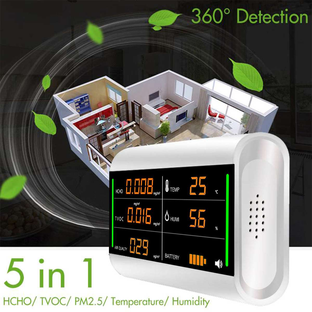 Home Air Quality Detector Formaldehyde Tester Digital Screen USB Rechargeable TVOC HCHO Benzene/Dust/Temperature/Humidity Meter
