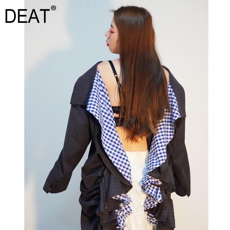 DEAT 2019 nouveau printemps mode femmes vêtements col rabattu manches longues rayé dos nu volants veste costume unique WD71602L