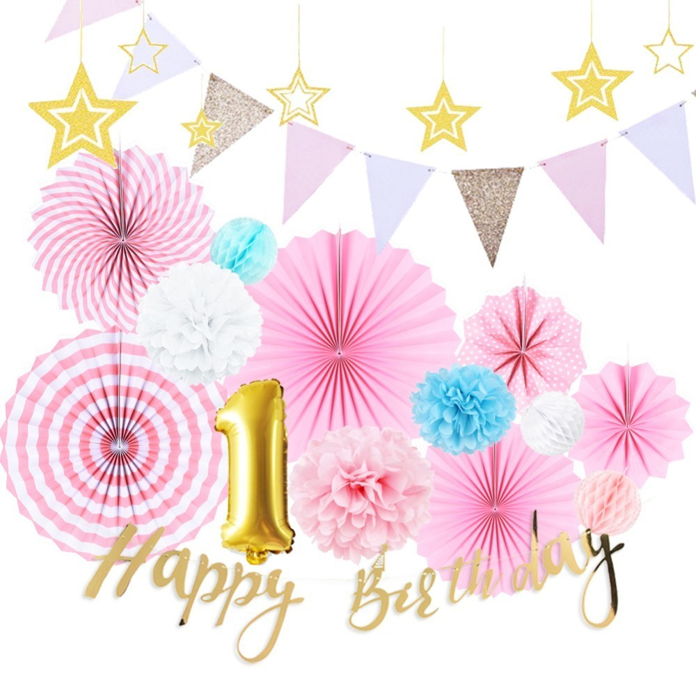 Us 13 55 9 Off First Birthday Girl Party Decorations Set 1st Birthday Backdrop Foil Balloons Paper Rosette Fans Hanging Happy Birthday Banner In