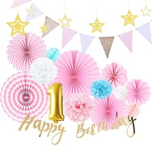 First Birthday Girl Party Decorations Set 1st Backdrop Foil Balloons Paper Rosette Fans Hanging Happy Banner