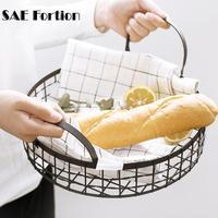SAE Fortion Multi function Bread Basket Fruit Basket For Home Kitchen Storage Round Hollow Iron Art Storage Basket SQZ6457