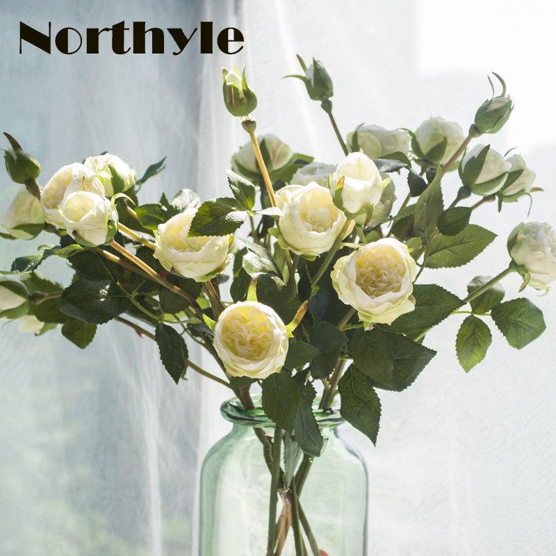 Northyle 5 Heads Umělá bílá Ramose Roses Květiny pro domácí dekorace Příslušenství Svatební Umělé květinové aranžmá