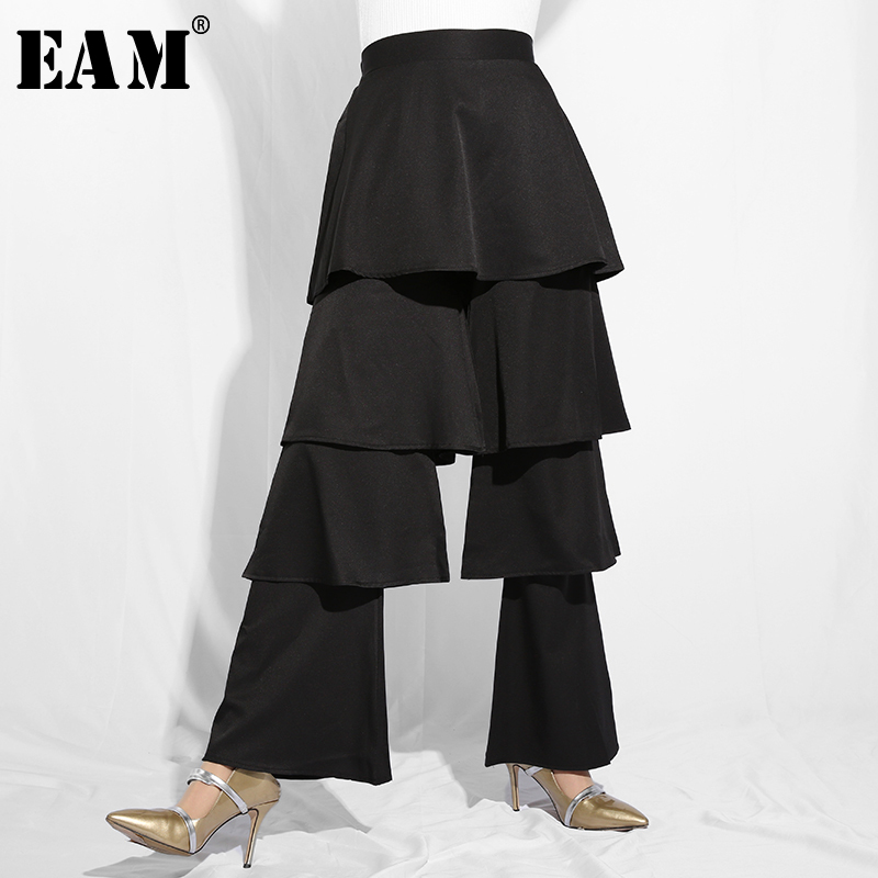 [EAM]2019 New Spring Summer High Elastic Waist Black Ruffles Layers Spit Joint Loose   Wide     Leg     Pants   Women Trousers Fashion JO63