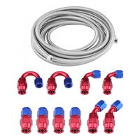 Universal Pull Starter Start AN8 Fitting Kit Stainless Steel PTFE Braided Oil Fuel Hose Line with End 20FT Engine Accessories