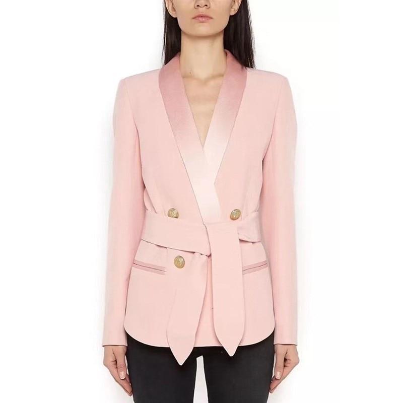 Ol Dentelle Tailles pink Blazer Costumes De Double Twotwinstyle Dames Femme Grandes Femmes À Black Manches Longues Automne Style Breasted Up Manteau 2018 H1qx1wZz