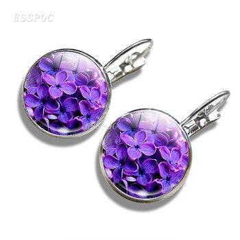 Daisy Rose Sakura Earrings Simple Style Flowers Earings Glass Cabochons Jewelry DIY Earring Women Lover Gifts Stud Earrings 5