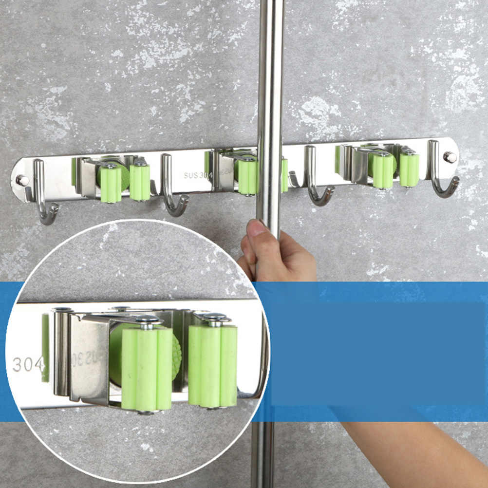 Mop Broom Holder Wall Mount Stainless Steel Heavy Duty Broom Organizer Hangers Storage Solutions for Laundry Room