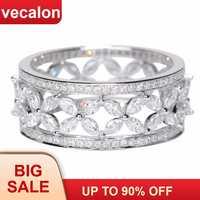 Vecalon Blume form 925 Sterling Silber Versprechen ring AAAAA Cz Engagement hochzeit Band ringe für frauen Braut Finger schmuck