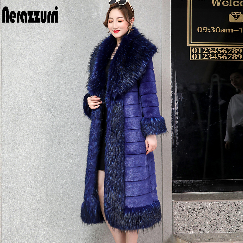 Nerazzurri Sapphire Blue Luxury Mink Fur Coat With Fox Trim Long Furry Striped Faux Fur Overcoat Women Plus Size Fluffy Jacket