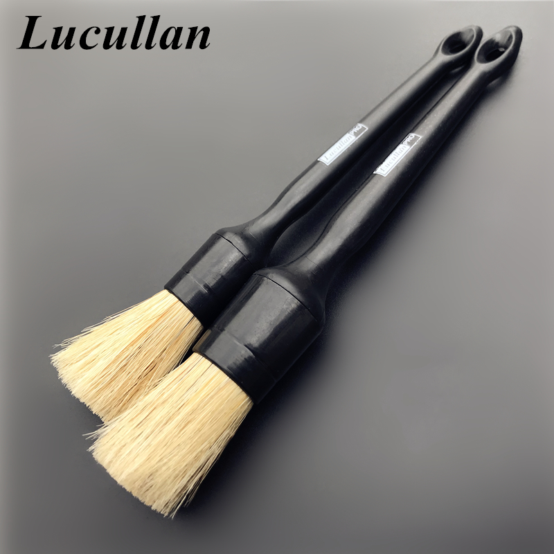 Lucullan Heavy Duty Snake Handle Natural Boar Car Detailing Brush For Dashboard Wheels Grille Emblem Car-styling Cleaning