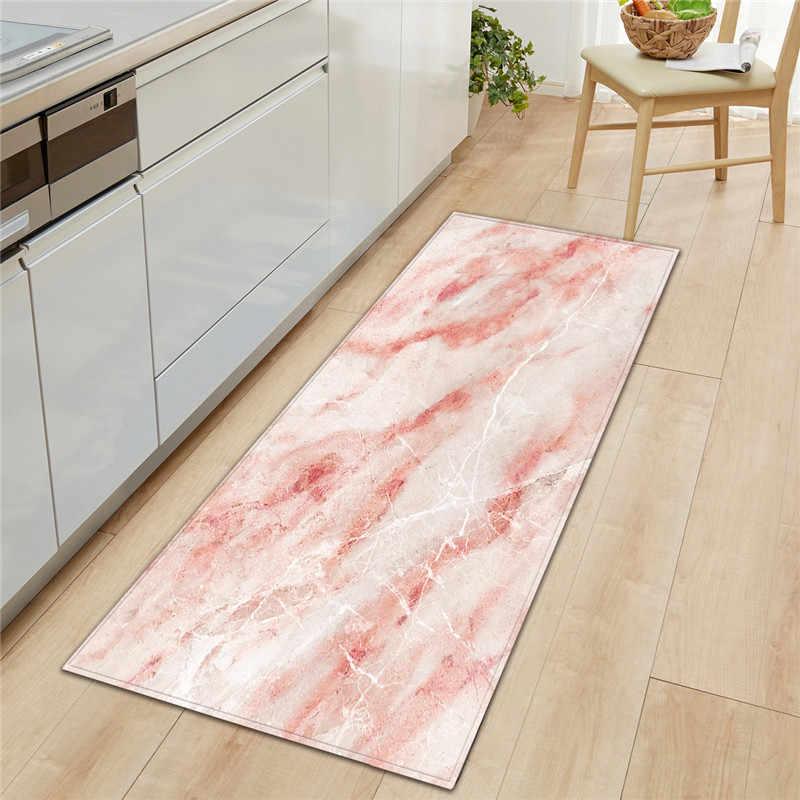 Preto branco mármore impresso bem-vindo capacho anti deslizamento tapete de cozinha tapete tapete corredor portch porta tapetes ao ar livre transporte da gota