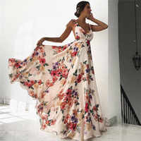 Oulylan Women Sexy 2019 Summer Floral Prin Dress Sleeveless V-Neck Backless Ladies Long Boho Cocktail Party Loose Beach Dresses